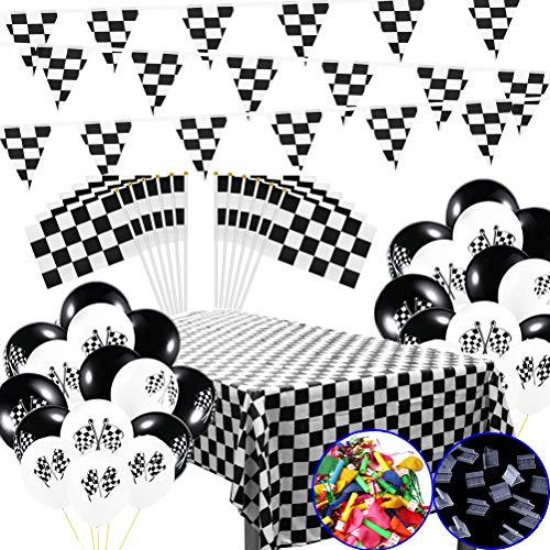 MX-Amigo 102 PC/Set Black White Checkered Racing Party Tablecover,Black&White Checkered Balloons Banner Flags Iclude 30PC Balloon Sealing Clip]()
