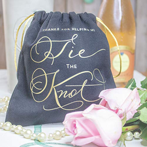 11 Piece Set of Thanks for Helping Me Tie The Knot Drawstring Canvas Gift Bags. Perfect for Jewelry or Hangover Kits for Bachelorette Parties, Weddings, or Showers!
