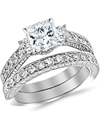 1.53 Carat Classic Channel Set Wedding Set Bridal Band & Diamond Engagement Ring with a 0.5 Carat GIA Certified Princess Cut E Color VS1 Clarity Center Stone