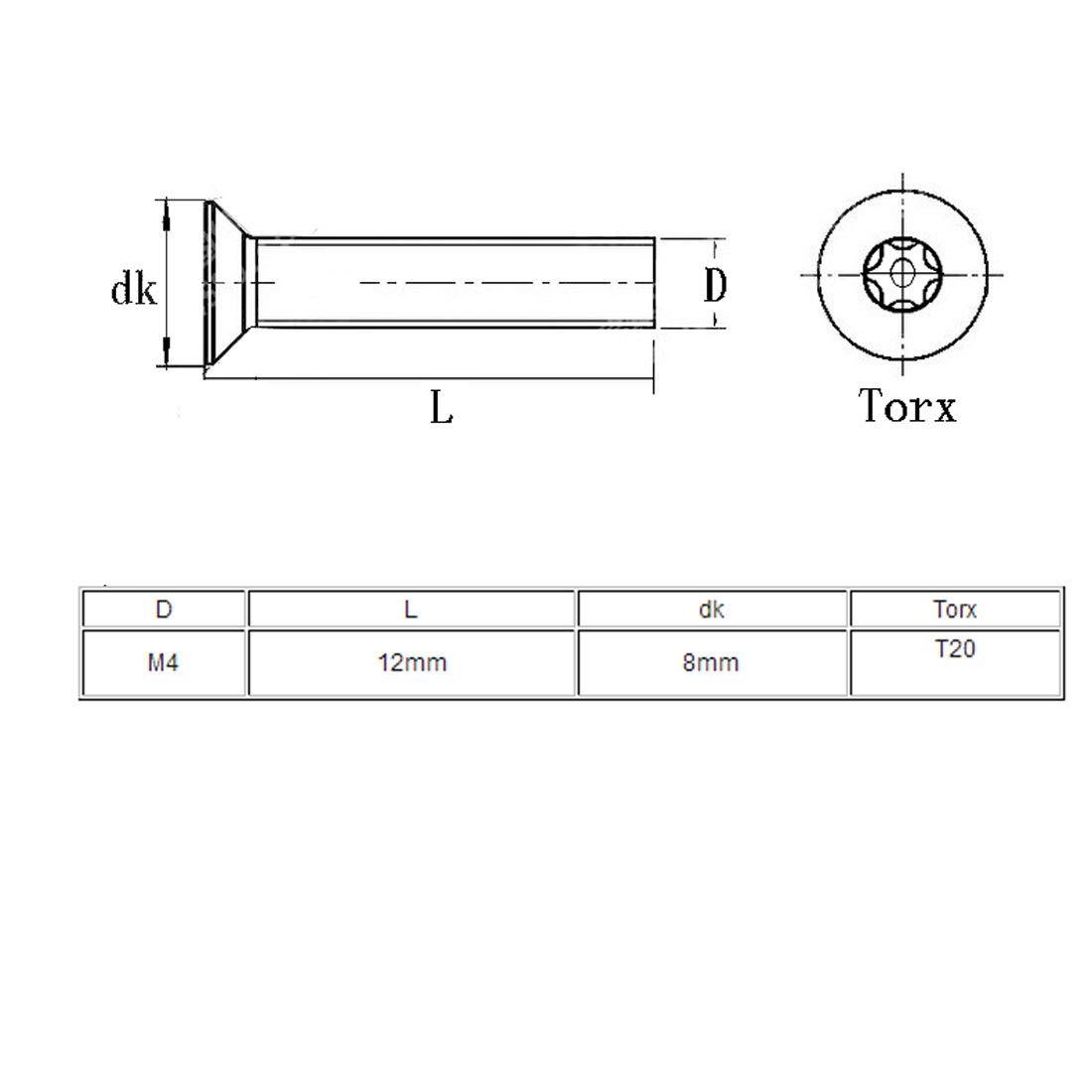 sourcing map 40 piezas Tornillo Torx manipulaci/ón cinco l/óbulos M4x12mm de Acero inoxidable 304 de cabeza plana