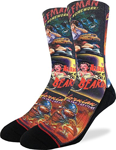 Good Luck Sock Mens B-Movie Horror Posters Crew Socks - Adult Shoe Size 8-13,Red]()