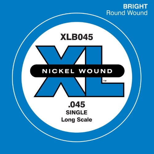 D'Addario XLB045 Nickel Wound Bass Guitar Single String, Long (Round Wound Single)