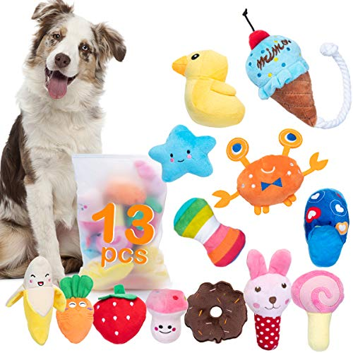 Dono Squeaky Plush Dog Toys-Pet Pack for Puppy Cute Toys Small Stuffed Puppy Chew Interactive Doggie Toys 13 Pack Tooth…