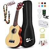 Soprano Ukulele Beginner Pack-21 Inch w/Rainbow String Gig Bag Fast Learn Songbook Digital Tuner All in One Kit: more info