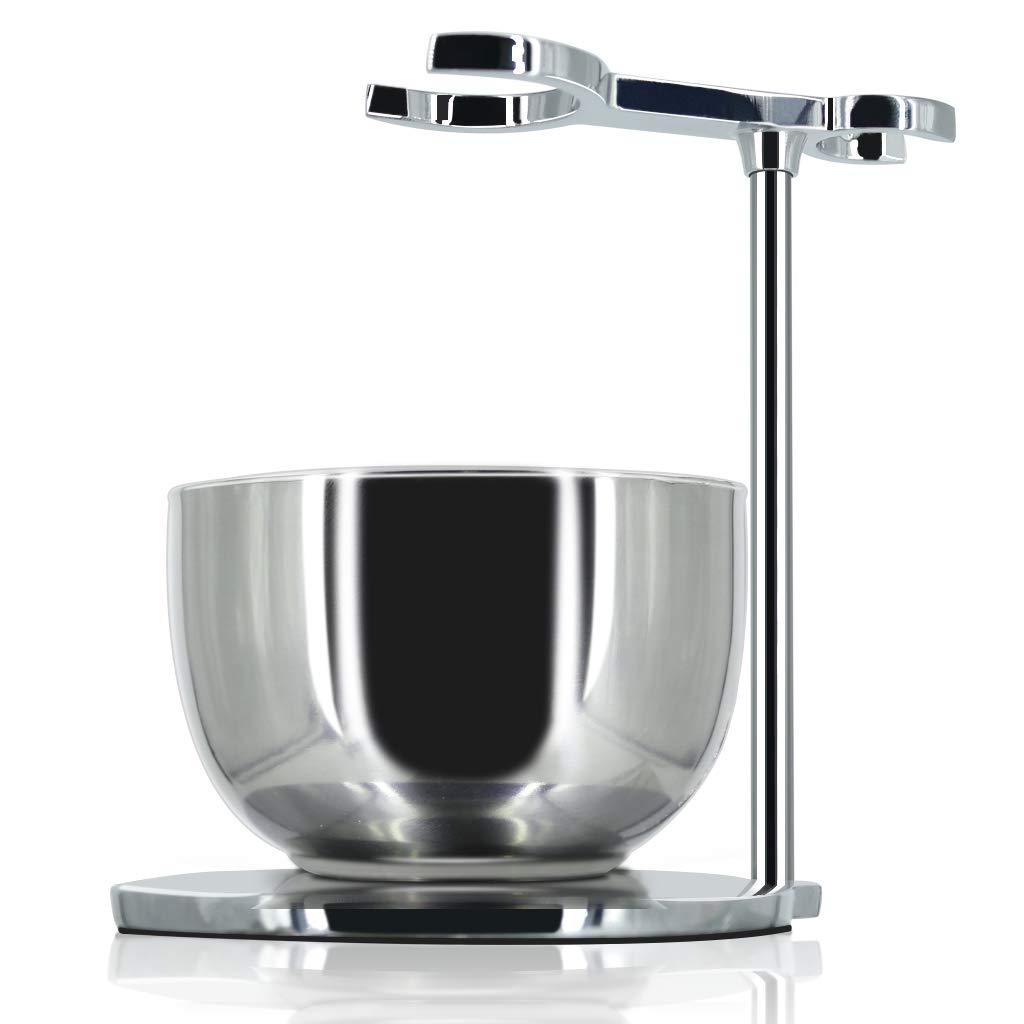 GRUTTI Razor and Brush Stand, Deluxe Chrome Holder for Razor and Brush for Wet Shaving-Silver