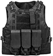 KIDYBELL Black Adjustable Airsoft Vest Lightweight Oxford Cloth Tactical Training Vest is Suitable for Outdoor