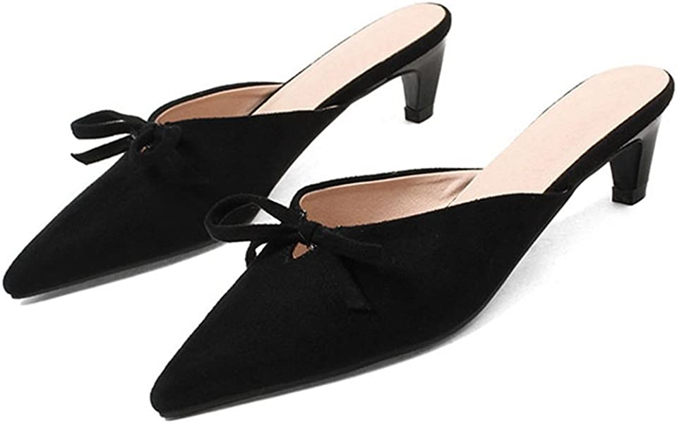 6c904ba26a GIY Women Low Heels Mules Slip On Flats Loafers Backless Pointed Toe Slide  Slipper Shoes