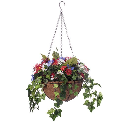 Basket Arrangement Mixed (Miles Kimball Daisy and Greenery Lighted Basket by Oakridge OutdoorTM)