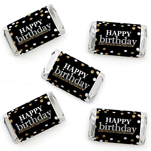 Happy Wrappers - Adult Happy Birthday - Gold - Mini Candy Bar Wrapper Stickers - Birthday Party Small Favors - 40 Count