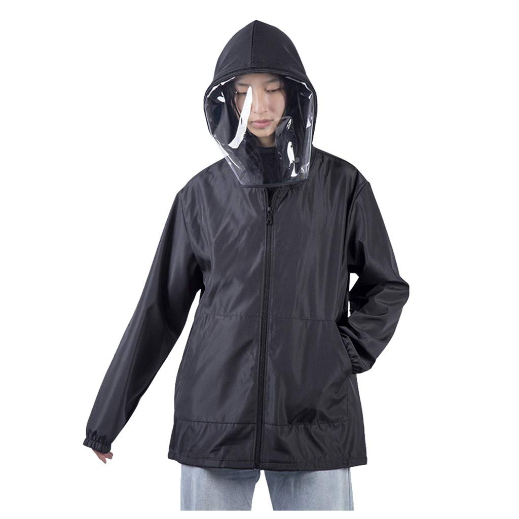 FANSHONN Men Women Hooded Isolation Protective Clothing Anti Droplet Pure Color Coat