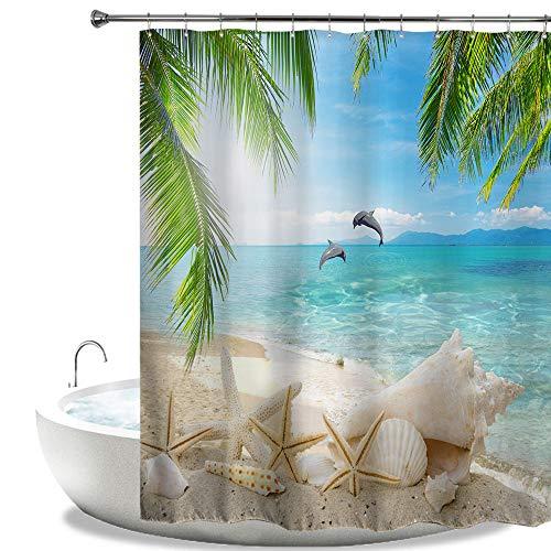 HIYOO Bathroom Decorative Polyester Fabric Waterproof Shower Curtain, Tropical Sea Seashore Beach PalmsTrees Starfish SeashellDolphin Theme Design, High-Definition Image, with Hooks 72