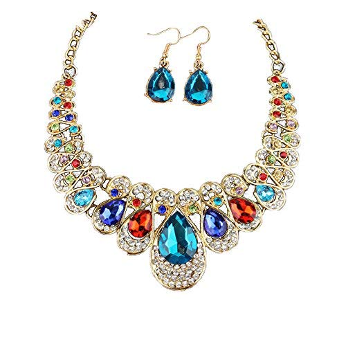 Gbell Girls Women Fashion Crystal Necklace Earrings Jewelry Pendant Gifts Set,Lady Neck Chain Choker Charm,Ideal for Wedding,Party,Engagement,45 + 5cm from Gbell