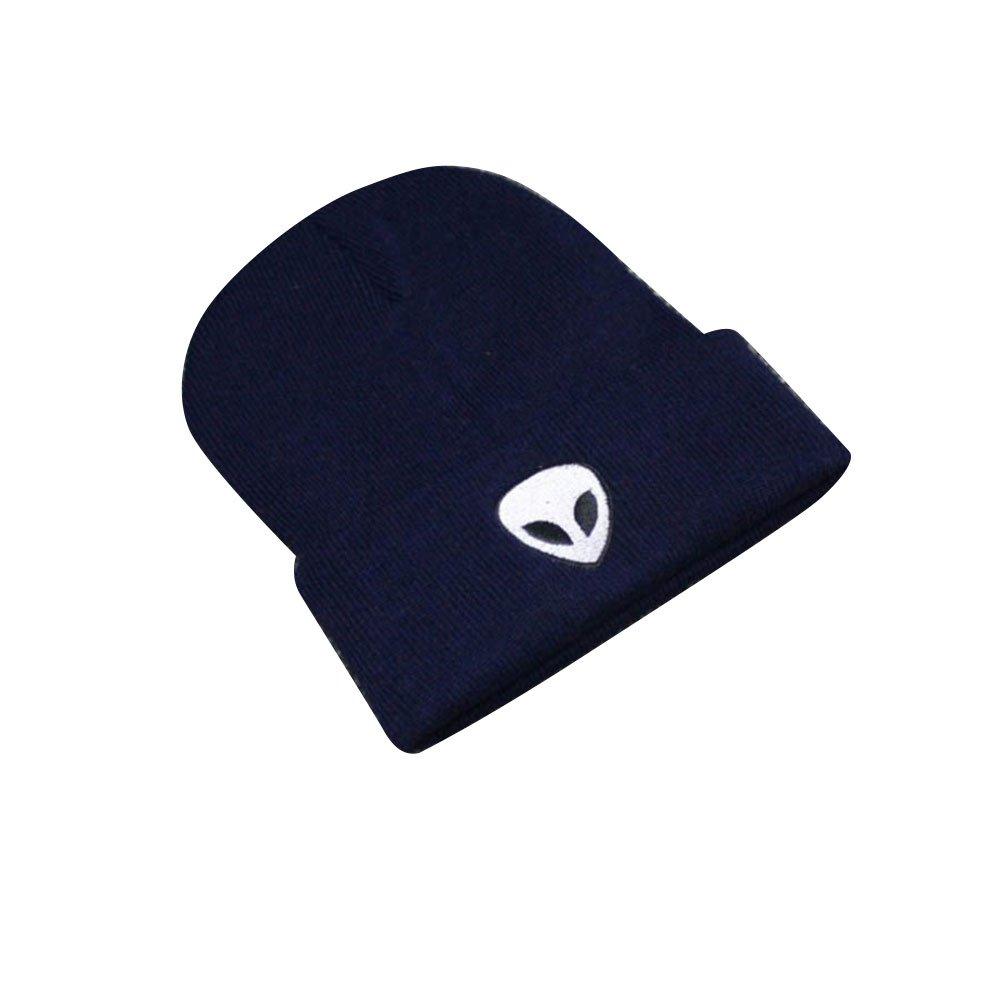 wlgreatsp Ricamo alieno Design alla moda A coste Knit Morbido e caldo Beanie Cappelli per le donne e gli uomini Vin beauty