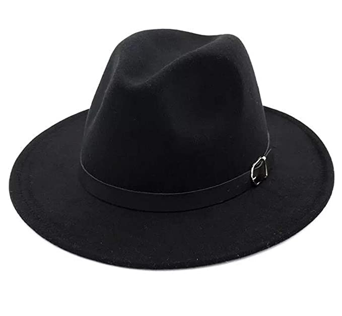 2b9ac60a5 Lanzom Women Retro Style Wide Brim Panama Hat Belt Buckle Wool Fedora Hat