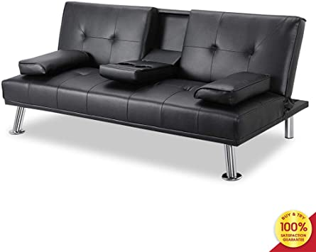 Gray Modern Style Futons Small Sofa for Living Room Bedroom MOOSENG Convertible Bed Faux Leather Couch