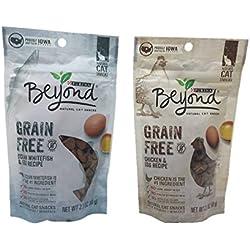 Purina Beyond Grain Free Natural Cat Snacks, Bundle Set of 2 Flavors (Chicken & Egg Recipe, Ocean Whitefish & Egg Recipe, 2.1 oz each)