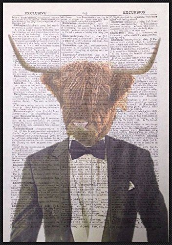Stampa vintage Highland Cattle dizionario pagina Wall Art immagine mucca Tuxedo Animal Quirky Funky homemade