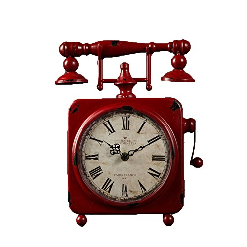 - DQMSB Vintage Stand Clock Wrought Iron Square Roman Digital American Country Home Decor Furniture Table Clock (Red, 9.1 2.2 11.7 Inches)