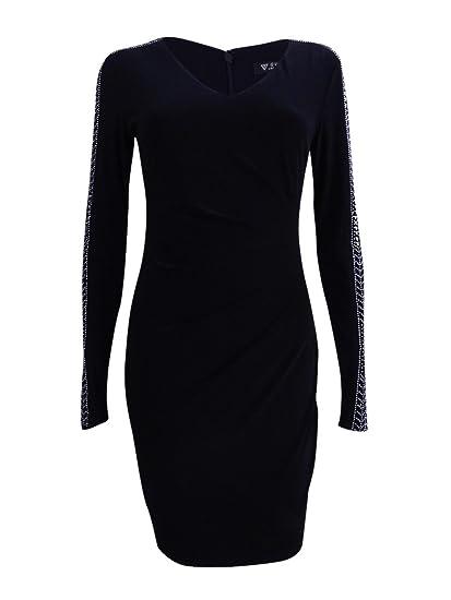 556da33a68 Guess Women S Black And Gold Long Sleeve Dress At. Guess Women S Long  Sleeve Francis Ruffle Lace Dress Jet ...