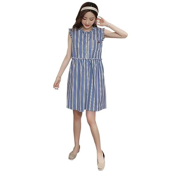 e2fe099255e4 BOZEVON Donna Abito per Allattamento - Vestito Premaman Striscia Casual  Senza Maniche Moda Elegante Estivo T-shirt Vestito  Amazon.it  Abbigliamento