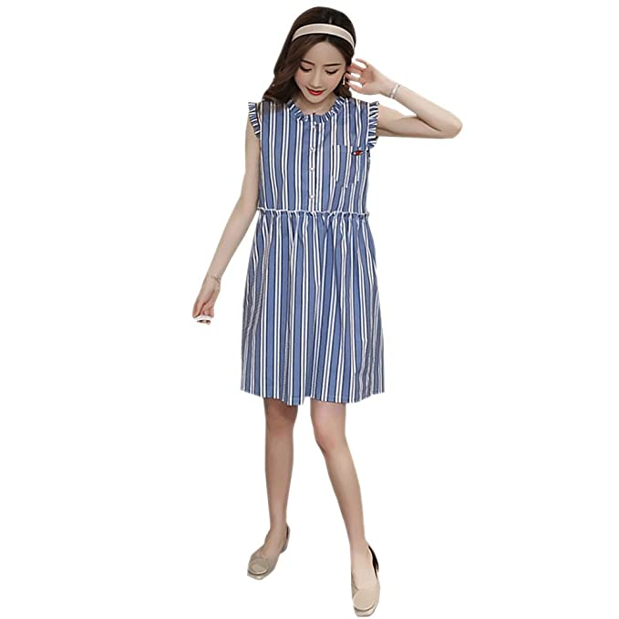 88a7944ca49f BOZEVON Donna Abito per Allattamento - Vestito Premaman Striscia Casual  Senza Maniche Moda Elegante Estivo T