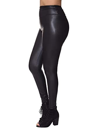 d0ace46f5d34d3 Instar Mode Women's Faux Leather Lightweight High Waist Leggings (S-3X)-  Made