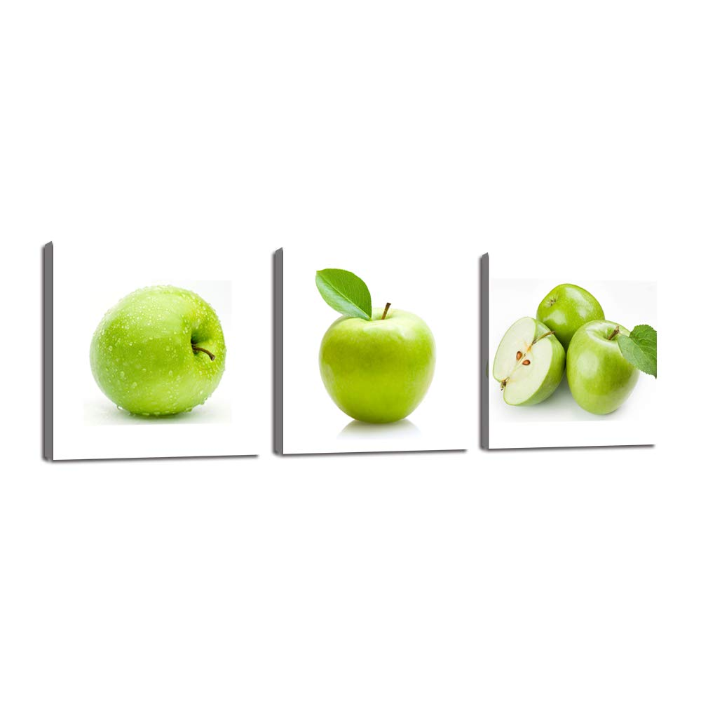 Yatsen Bridge 3 Piece Wall Art Green Apples Canvas Fruits Design Elegant Life Prints Decor Framed Ready to Hang - Modern Artwork Painting Contemporary Pictures Kitchen Dining Home Decoration