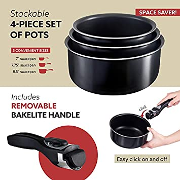 Chef s Star 4-Piece Saucepan Set w Detachable Handle safe for Oven and all Cooktops including Induction