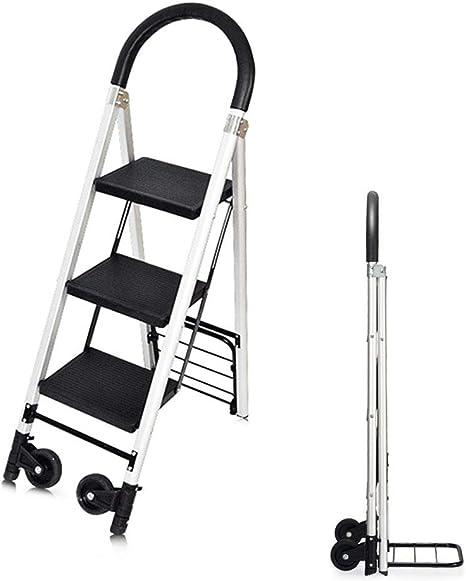 NINGXUE Escalera Plegable Multifunción para El Hogar - Escalera con Ruedas, Ligera Y Conveniente Herramienta De Engrosamiento De Aleación De Aluminio - con Antideslizante Ma: Amazon.es: Deportes y aire libre