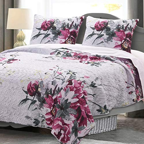 - GH Quilt Set Roses Floral Bedspread Coverlet with Shams - Chic Cottage Bedroom - Lightweight All Season Reversible 3 Piece Full/Queen Size Bedding - Grey Pink Purple - Includes Bed Sheet Straps