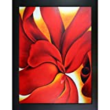 overstockArt OKE1551-FR-137B36X48 O'Keeffe Red Cannas with 2 3/8-Inch Wood Frame with Black Finish, 36-Inch by 48-Inch