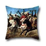 18 x 18 inch / 45 by 45 cm oil painting Lameyer y Berenguer, Francisco - A Moorish Fantasia throw pillow covers ,two sides ornament and gift to family,divan,relatives,son,festival,christmas