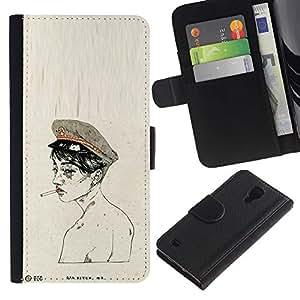 Soldado Humo Desnudo- la tarjeta de Crédito Slots PU Funda de cuero Monedero caso cubierta de piel Para Samsung Galaxy S4 IV I9500