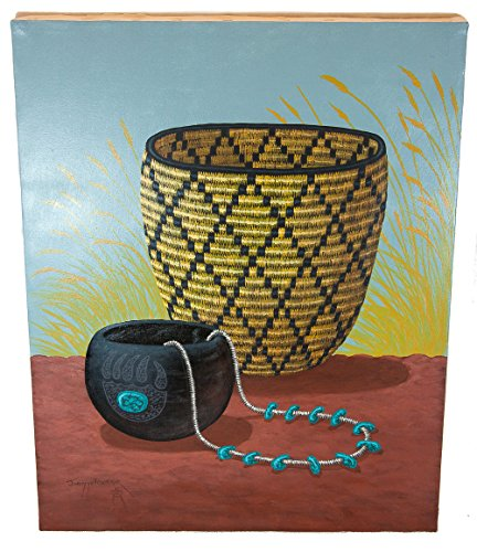 - $350 Navajo Certified Authentic Basket Painted by Acrylic Native American Painting