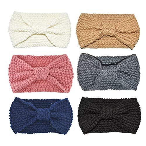 (DRESHOW Crochet Turban Headband for Women Warm Bulky Crocheted Headwrap Pack 6)