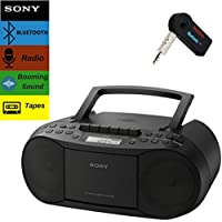Sony Bluetooth Boombox Bundle – [2] Piece Set Includes Classic Stereo Boombox w/CD/Cassette/Radio & 3.5mm Wireless Bluetooth Receiver; Stream Music From Device Through Any Home or Car Speaker