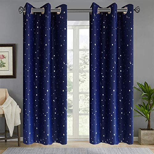 Stars Semi Blackout Curtain Navy Thermal Insulated Curtain