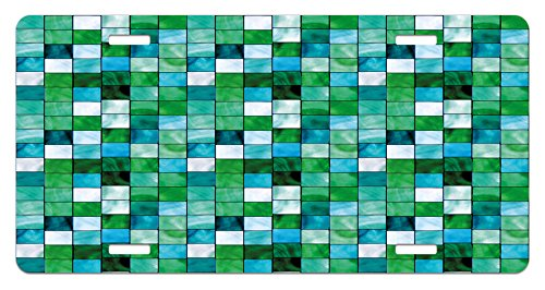Emerald License Plate by Lunarable, Geometric Mosaic Squares with Soft Aquatic Color Scheme Checkered Tile Pattern, High Gloss Aluminum Novelty Plate, 5.88 L X 11.88 W Inches, Blue Sea Green