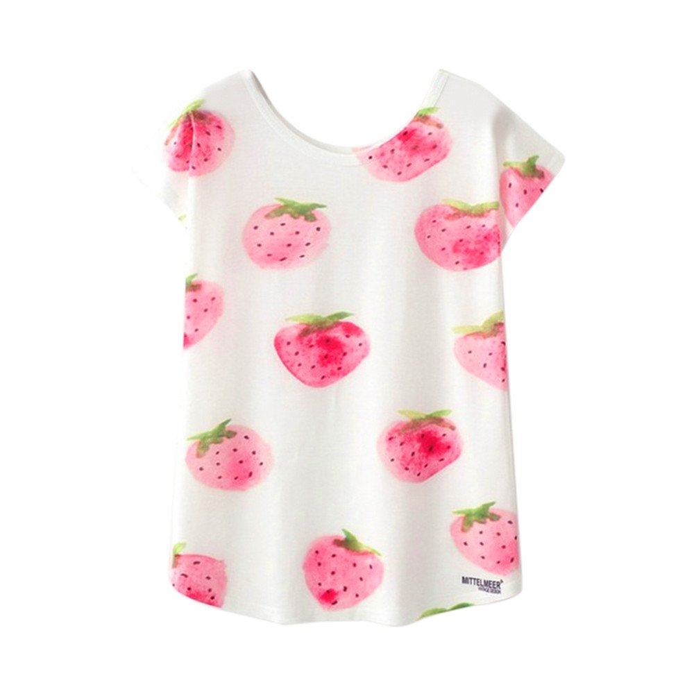 LQQSTORE Camisetas De Mujer Suelto Cuello Redondo Imprimiendo Camisetas Mujer Manga Corta Verano Casual Fiesta Originales Blanca Blusas para Mujer Camisas De Mujer