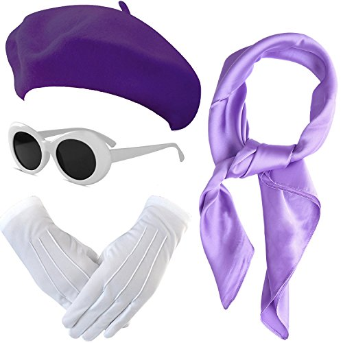 French Themed Costume Accessories Set - Beret Hat,Sheer Chiffon Scarf,Deluxe Theatrical Gloves,Retro Oval Clout Goggles Bold Sunglasses for Womens & Girls (Purple) -