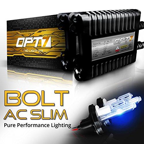 OPT7 Bolt AC Slim H13 Hi-Lo HID Kit - 4X Brighter - 6X Longer Life - All Bulb Sizes and Colors - 2 Yr Warranty [6000K Lightning Blue Xenon Light]