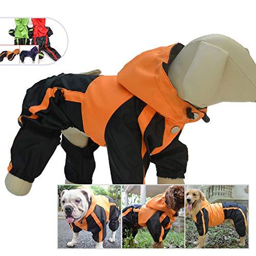 Lovelonglong Dog Hooded Raincoat, Small Dog Rain Jacket Poncho Waterproof Clothes with Hood Breathable 4 Feet Four Legs Rain Coats for Small Medium Large Pet Dogs Orange S ()