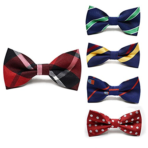 Zyan Angus Adjustable Boys Bow Tie 5 Pack Holiday Party Dress up Toddler Bowties