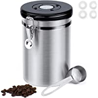 BRITOR Airtight Stainless Steel Coffee Canister Large,with Built-in CO2 Gas Vent Valve & Date Tracking Wheel &Scoop,4…