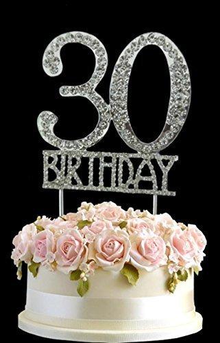 Kristall Monogran Happy 30th Birthday Cake Topper Strass Mit Silber Bling Kuchen Dekoration Party