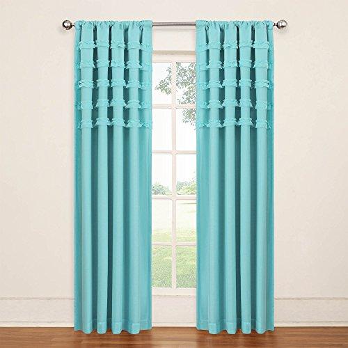 Eclipse Kids 13748050X084POL Ruffle Batiste 50-Inch by 84-Inch Blackout Single Window Curtain Panel, Pool