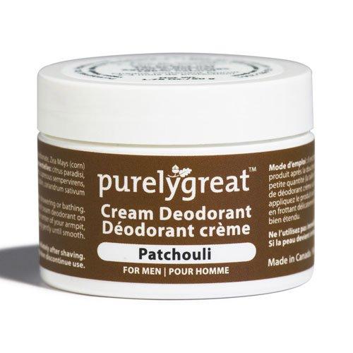 Purelygreat Natural Deodorant for Men Patchouli - EWG Verified - Vegan, Cruelty Free - No Aluminum, No Parabens, BPA Free - Essential Oils