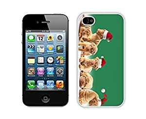 taoyix diy Diy Design Cute Christmas Dogs Red Hat Iphone 4s,Apple Iphone 4s White TPU Cover Case
