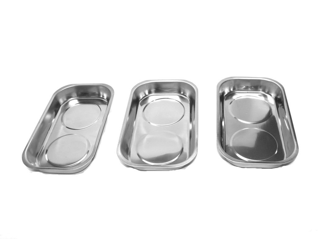 GHP Set of 3 9.5''x5.5'' Chrome Finish Stainless Steel Parts & Tools Magnetic Tray
