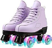 Roller Skates for Women Four-Wheel Roller Skates High-top Double-Row Roller Skates Purple Roller Skates